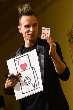 Illusionist Leon Etienne performs the Romano Room at Stanley Center for the Arts in 2018.