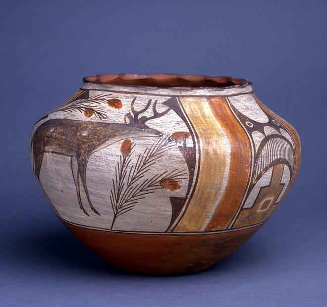 Zia Jar, c. 1885-1964, attributed to Trinidad Medina, Zia Pueblo, clay and pigments.