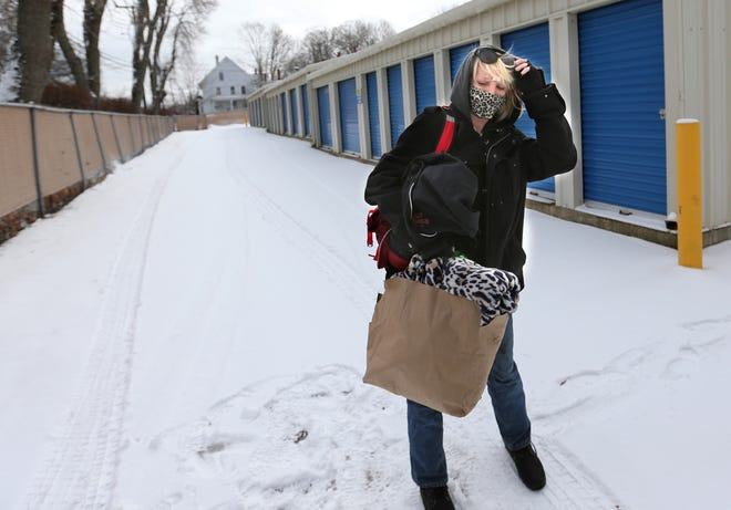 Meaghan Gagnon is homeless and has a storage unit in Dover, where she goes to put her belongings each day.