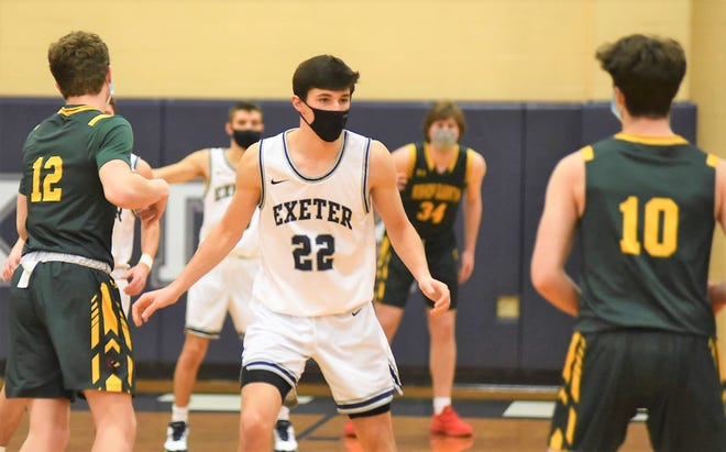 Exeter senior Jacob Gibbons, shown here during Tuesday's game against Bishop Guertin, scored 13 points in a 67-33 Division I win over Salem on Thursday.