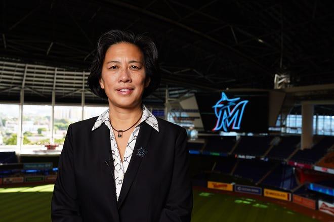 Nov 16, 2020; Miami, FL, USA;  Miami Marlins general manager Kim Ng poses for a photo at Marlins Park.  Mandatory Credit: Joseph Guzy/Miami Marlins Handout Photo via USA TODAY Sports