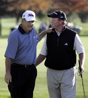 Lonnie Nielsen, right, shown with Jay Haas during the 2005 Charles Schwab Cup Championship, won two titles on the PGA Tour Champions.