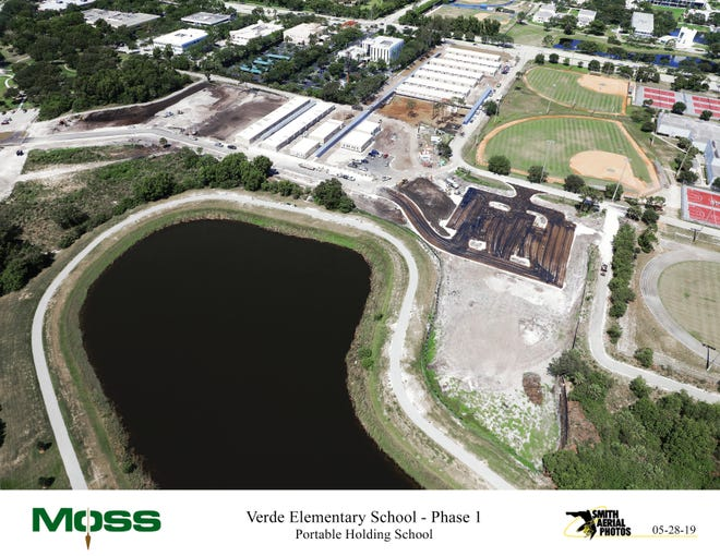 Aerial photo of the temporary elementary school under construction next to Don Estridge Middle School in Boca Raton. This will be the site of a new elementary school. COURTESY MOSS CONSTRUCTION