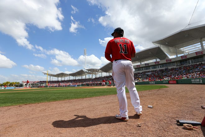 Boston Red Sox third baseman Rafael Devers waits on deck to bat during the fourth inning against the St. Louis Cardinals at JetBlue Park on March 10, 2020.