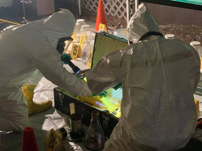 Members of the Explosive Ordnance Disposal Team were called to examine a suspicious device discovered at a home that turned out not to be an explosive.