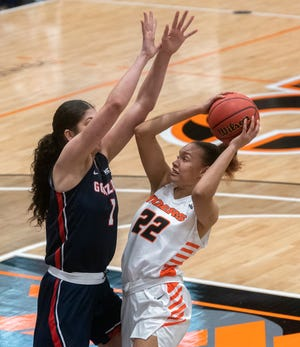 Pacific's Valerie Higgins, right, is guarded by Gonzaga's Anamaria Virjoghe during a West Coast Conference women's basketball game at Pacific's Spanos Center in Stockton. Gonzaga won 77-65.