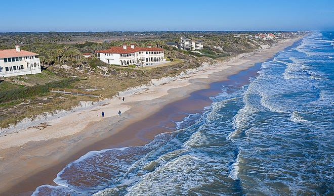 An aerial photograph shows Ponte Vedra Beach, north of Mickler's Landing park, on Friday.