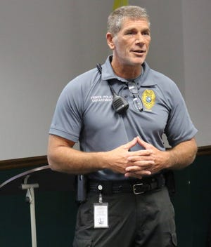 Jim Davis, code enforcement supervisor for the city of Venice, gives a presentation in February 2019 during one of the city's Citizens Police Academy programs. Davis recently started the MAGA Patriot Party National Committee, technically a political action committee as registered with the Federal Elections Commission.
