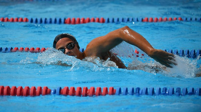 Riverview High's Jason Brzozowski competes in the boys 200 freestyle during the Class 4A-District 6 swim meet in Sarasota on Oct. 23, 2020.