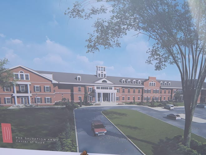 Architect's rendering of the proposed Center of Hope transitional shelter.