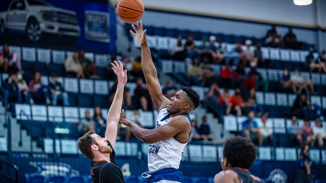 Georgia Southern's Prince Toyambi takes a shot against Mercer at Hanner Fieldhouse on Dec. 13, 2020 in Statesboro.