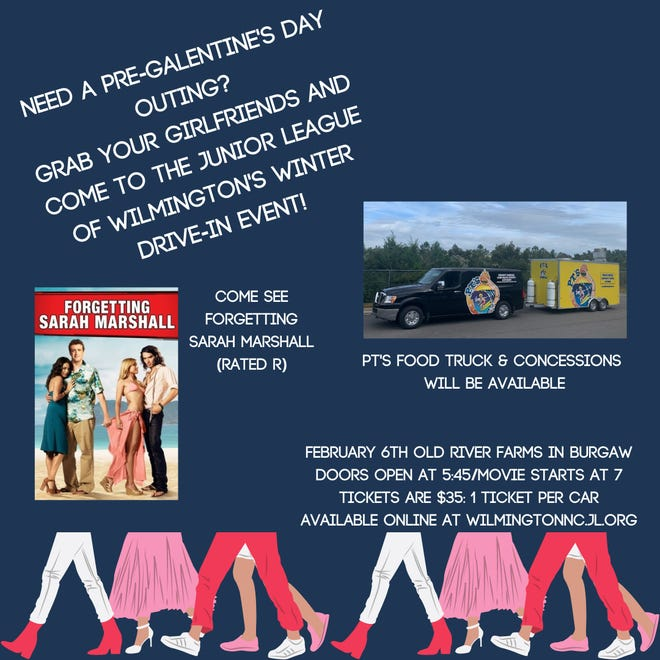 The Junior League of Wilmington, NC hosts a winter drive-in movie on Saturday, Feb. 6, at Old River Farms in Burgaw.
