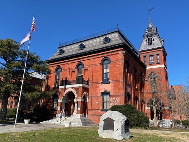 The murder trial of Anthony Johnson concluded Friday afternoon at the Craven County Courthouse, pictured here. He was found guilty of the murder of Scottie Morton of Cove City in 2017. as well attempted robbery, conspiracy to commit robbery, and possession of a firearm by a convicted felon. [Bill Hand / Sun Journal Staff]