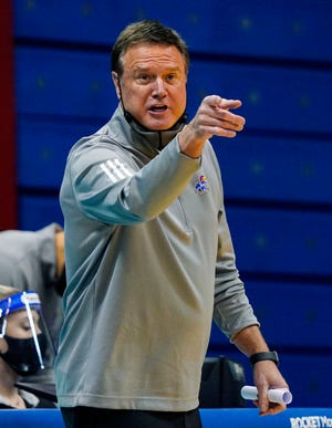 Kansas basketball head coach Bill Self calls a play during Thursday's game against TCU at Allen Fieldhouse in Lawrence, Kan. The Jayhawks won 59-51 to snap a three-game losing streak.