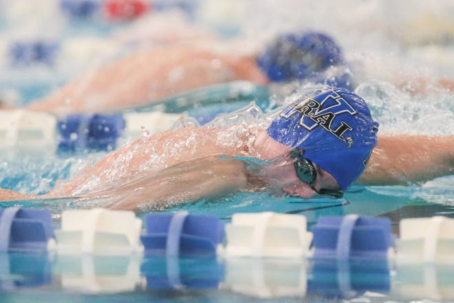 Washburn Rural's Dagen Clouse glides through the water at Capitol Federal Natatorium to win the 50-yard freestyle with a time of 22.22 at Thursday's City Swim Meet. Clouse swept titles in the 50 and 100 freestyles for the third straight year.