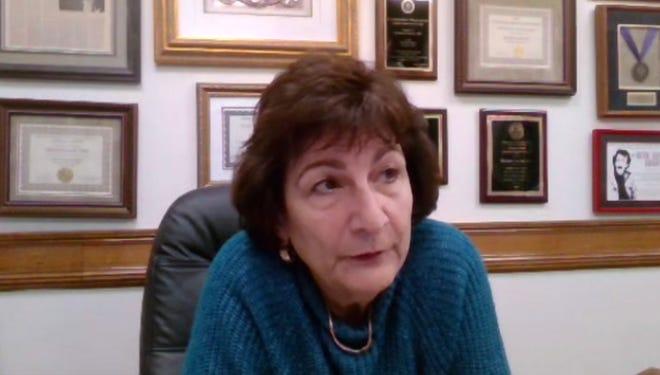 "Worcester Health & Human Services Commissioner Dr. Matilde Castiel speaks during the webinar titled ""Conversación Virtual Sobre las Vacunas del COVID-19"" on Thursday."
