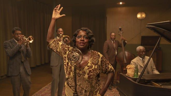 "From left, Chadwick Boseman,  Colman Domingo, Viola Davis, Michael Potts and Glynn Turman star in ""Ma Rainey's Black Bottom."""