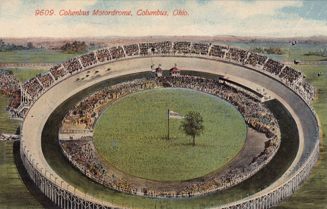 The Columbus Motordrome motorcycle racetrack was just off of Fifth Avenue near Cambridge Boulevard on the Miller farm in what is now Upper Arlington. Modeled after a similar track in Playa del Rey near Los Angeles, it was built in 1912 but was closed the next year because of safety concerns.