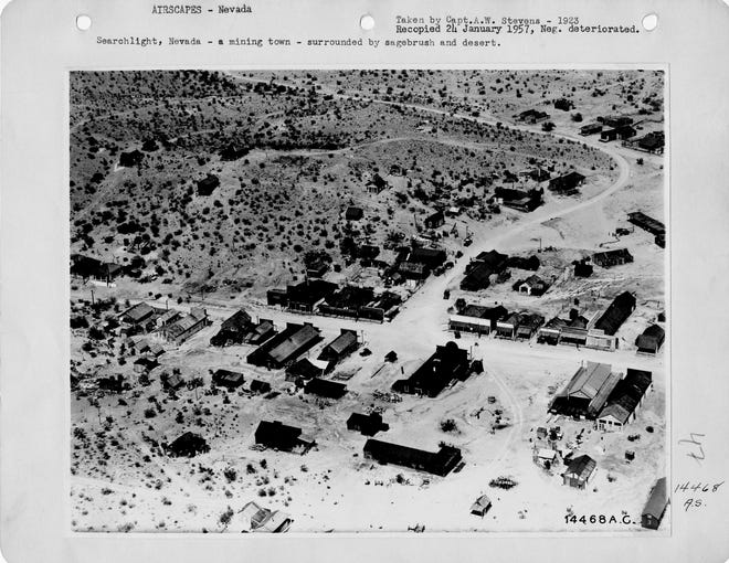 An aerial view of Searchlight, Nevada taken in 1923.