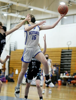 Scituate's Jolie Rojik takes it strong to the basket during fourth quarter action of their game against Plymouth South at Scituate High on Thursday, Jan. 28, 2021.