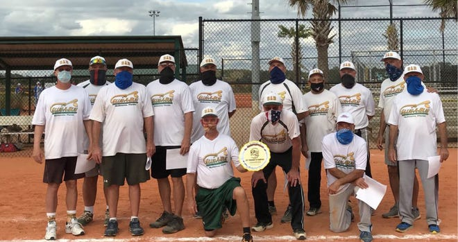 The Slug-a-Bug 65's of Melbourne won the SSUSA Tournament of Champions title Jan. 24, 2021. They are, front from left: Joe Pavlok, Terry Vervynck andMike Dichristopher; Back row:Dave Jolly,Jerry Piester,Shadow Uzialko,Rick Harder, Hugh Mitchell,Nick Nicometo, Ray Mazara,David White, Matt Matson and John Martellucci. Not pictured: Frank StraubandDave Carden.