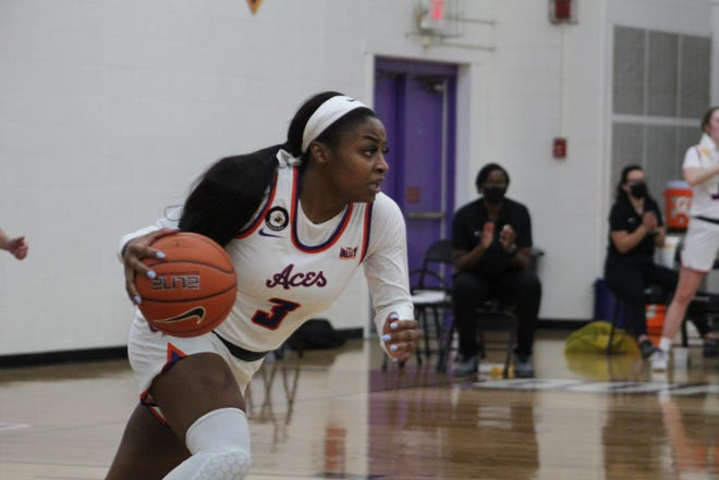 Lola Reed played 44 minutes during the Aces' 70-63 overtime victory Wednesday against Indiana State.