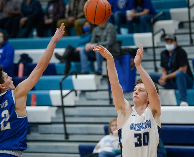 Great Falls High's Josh Banderob shoot from outside during Thursday's basketball game against Skyview.