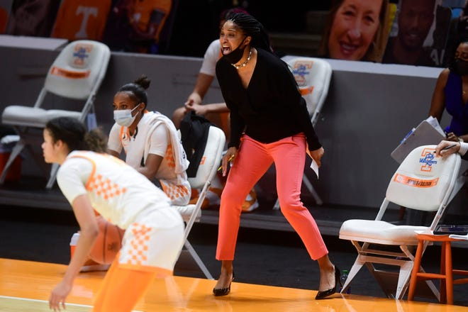 Tennessee assistant coach Jennifer Sullivan yells to the court during a basketball game between the Tennessee Lady Vols and the Ole Miss Rebels at Thompson-Boling Arena in Knoxville, Tenn., on Thursday, January 28, 2021.