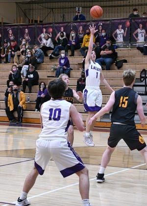 Millersport's Mason Purvis shoots the ball during the first half against Berne Union Thursday night. The host Lakers came back from a 15-point deficit to beat the Rockets, 78-74 in overtime.