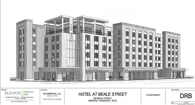 New plans for a 145-room hotel at 380 Beale St. include retail space and a rooftop bar.