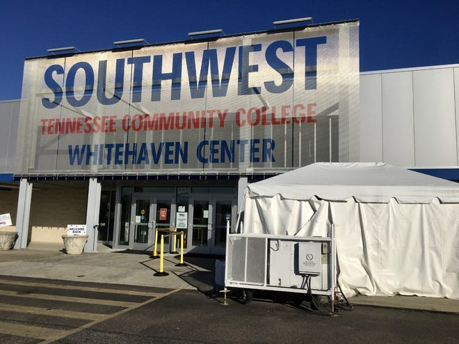 A tent stands near the entrance of Southwest Tennessee Community College's Whitehaven Center. The site has been selected as a new location for COVID-19 vaccinations.
