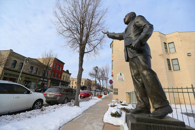 A statue of Dr. Martin Luther King Jr. is seen on the historic King Drive on Thursday, Jan. 28, 2021. The statue is on the south end of the drive.