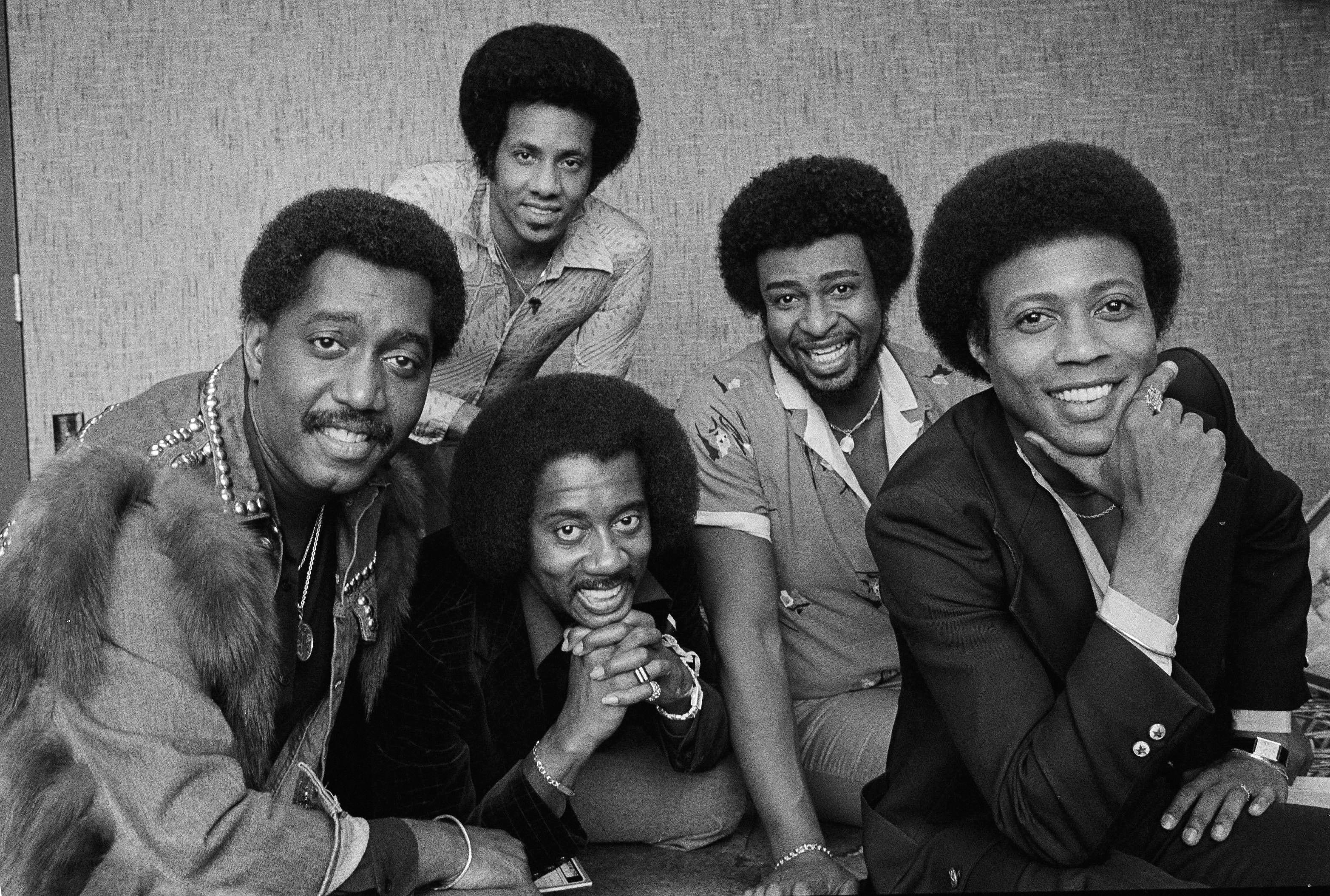 The Temptations singing group. From left are; Otis Williams, Melvin Franklin and Glenn Leonard. Back row from left, Richard Street and Dennis Edwards.
