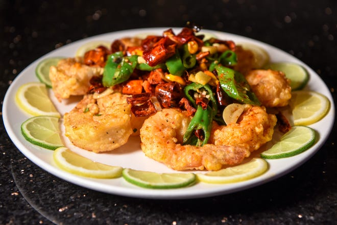 Chili pepper shrimp for Chinese New Year at Hunan Taste in Denville  on Friday January 29, 2021.