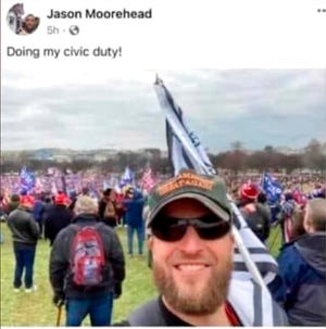 Jason Moorehead's selfie photo is seen in this Facebook post from the Jan. 6, 2021 protest in Washington. Moorehead, who has been suspended from his teaching post at the Allentown School District in Pennsylvania, says the district falsely asserted that he was at the U.S. Capitol during the riot. (Jason Moorehead via AP)