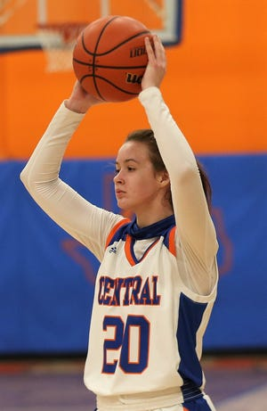 San Angelo Central's Anjelina Humphreys looks to make a pass during a District 2-6A game against Frenship at Babe Didrikson Gym on Thursday, Jan. 28, 2021.