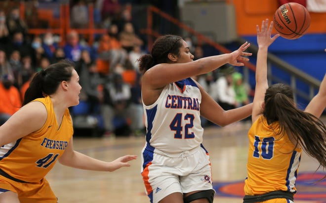 San Angelo Central's Layla Young, 42, gets a pass off while being pressured by Frenship's Zaria Fowler, 41, and Hannah Page during a District 2-6A game at Babe Didrikson Gym on Thursday, Jan. 28, 2021.