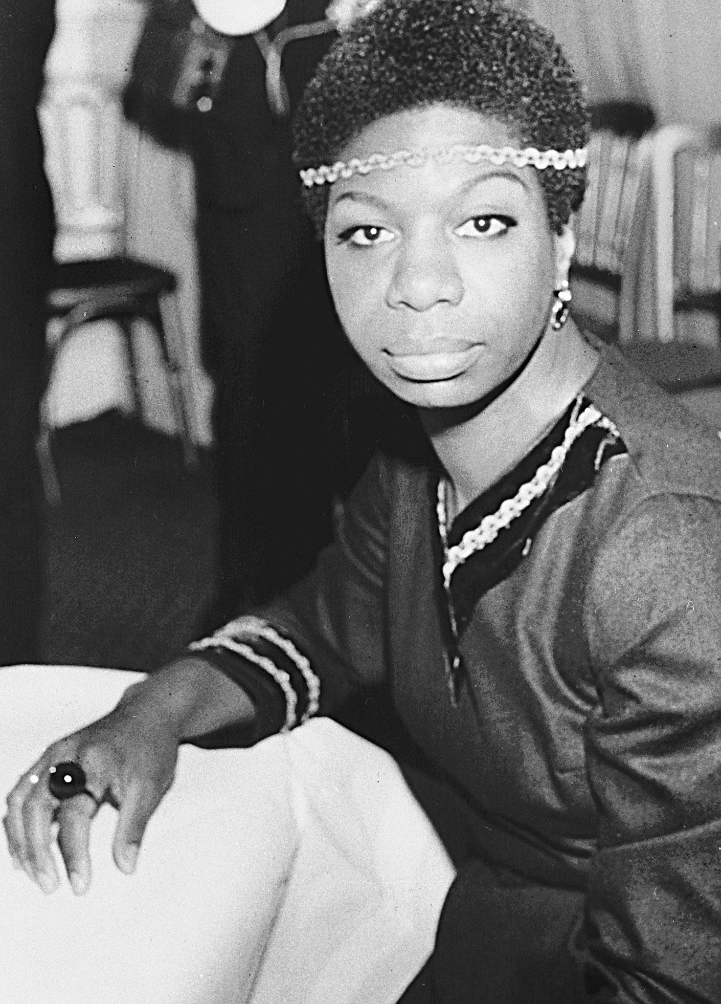 Jazz singer Nina Simone is shown in London on Dec. 5, 1968, photo.  Simone's deep, raspy, forceful voice made her a unique figure in jazz and later helped define the civil rights movement.