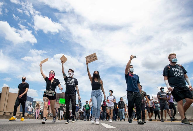 Protesters shut down southbound Interstate 35 on May 30, 2020, in Austin, Texas, after the death of George Floyd in police custody.