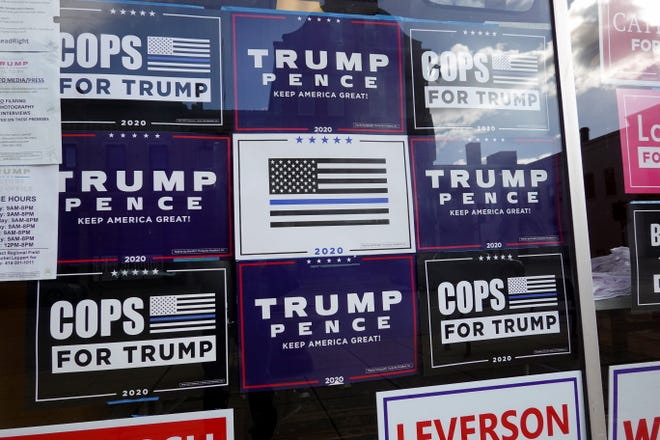 Campaign signs on Nov. 1, 2020, in Racine, Wisconsin.
