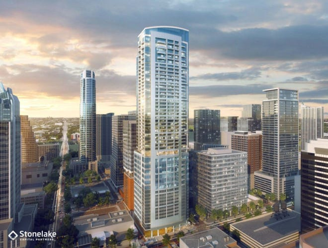 Stonelake's 50-story tower planned for West Fifth and Colorado streets would have 318 apartments atop 100,000 square feet of office space.