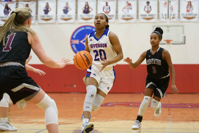 Jefferson junior Jyesha Butts (20) makes a run toward the basket during a game against the Chestatee at Jefferson High School. The Dragons defeated the War Eagles 76-31. (Julian Alexander for the Athens Banner-Herald)