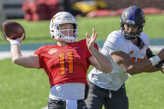 Former Texas quarterback Sam Ehlinger participates in a National Team practice in the lead-up to the Senior Bowl in Mobile, Ala., on Jan. 28, 2021. Texas last had a quarterback drafted in 2010.