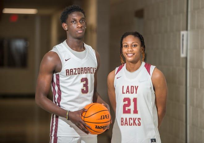 Twin siblings Josh Dorsey, left, and Jordyn Dorsey both play basketball at Cross Creek High School in Augusta, Ga., Friday evening January 29, 2021.