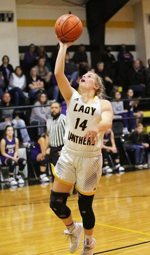 Fairview standout Rylee Cloud, seen here in a game earlier this season against Anacoco, drilled seven three-pointers en route to 27 points as the Lady Panthers took care of Pitkin on Thursday, 96-35.