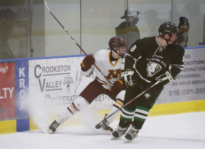 Cam Olstad in a game against Williston State on Jan. 29. Olstad scored a power-play goal in Minnesota Crookston's 5-2 loss to the University of Mary Saturday afternoon.