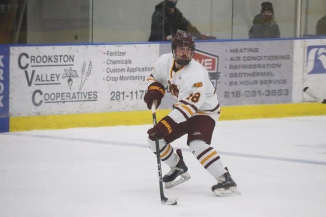 Casey Kallock in a game against Williston State on Friday, Jan. 29. Kallock had an assist in Minnesota Crookston's 7-3 loss to the Tetons Saturday afternoon.