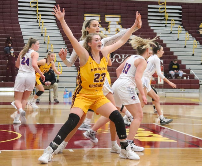 Bren Fox in a game against UMary on Jan. 30. Fox scored 16 points to help Minnesota Crookston to its highest-scoring game of the season in a 79-77 loss to Bemidji State Friday.