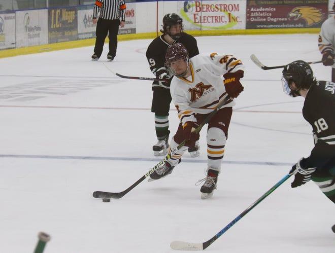 Gunner Ferrier and the Minnesota Crookston hockey team lost 3-1 to Williston State Friday night at the Crookston Sports Center.