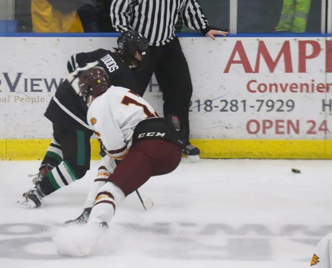 Tyler Zahradka in a game against Williston State on Jan. 29. Zahradka scored a goal in Minnesota Crookston's 7-3 loss to the Tetons Feb. 12 in Williston.